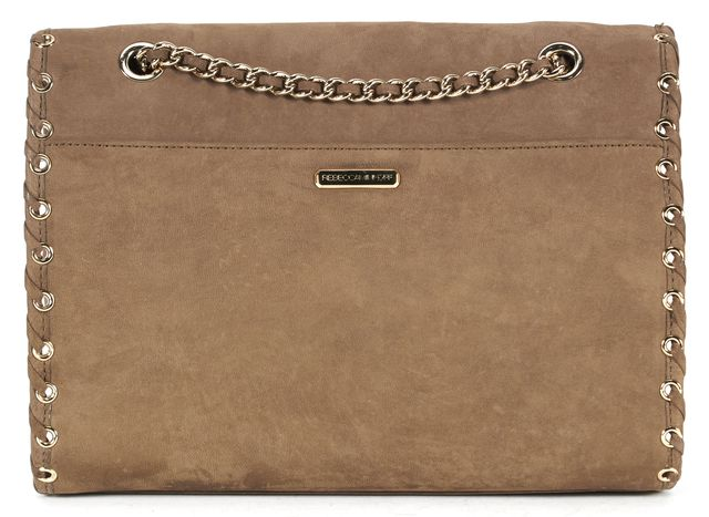 REBECCA MINKOFF Brown Nubuck Leather Grommet Chain Strap Shoulder Bag