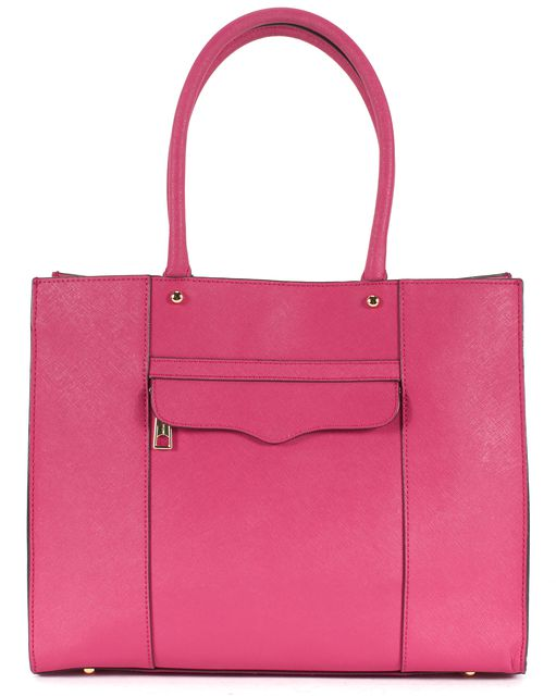 REBECCA MINKOFF Pink Textured Saffiano Leather Top Handle Tote Bag