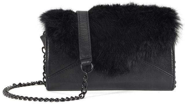 REBECCA MINKOFF Black Leather Rabbit Fur Trim Crossbody Clutch Bag