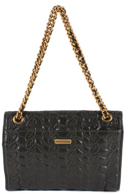 REBECCA MINKOFF Dark Green Quilted Leather Gold Chain Shoulder Bag