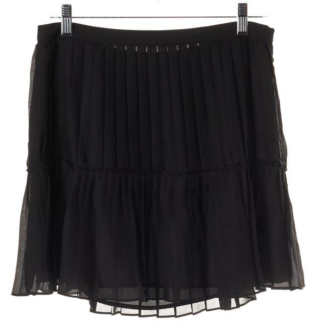 REBECCA MINKOFF Black Semi Sheer Above Knee Pleated Skirt
