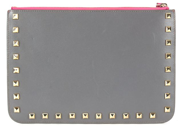 REBECCA MINKOFF Pink Gray Studded Genuine Leather Wristlet Clutch