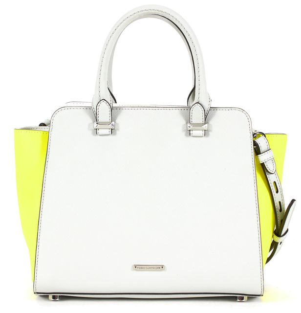 REBECCA MINKOFF Soft Gray Neon Yellow Textured Leather Top Handle Satchel Bag