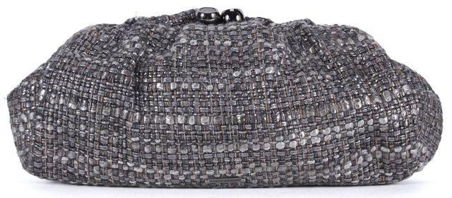 REBECCA MINKOFF Silver Gray Tweed Impulse Clutch Bag