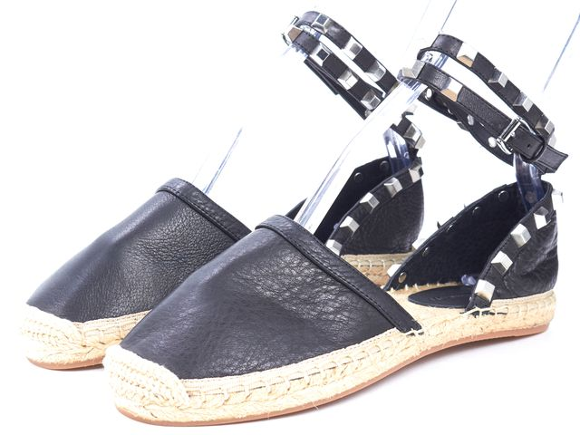 REBECCA MINKOFF Black Leather Stud Embellished Ankle Strap Espadrille Flats