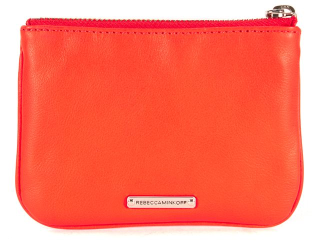 "REBECCA MINKOFF Orange Leather ""Shop It Out"" Cory Pouch Clutch"