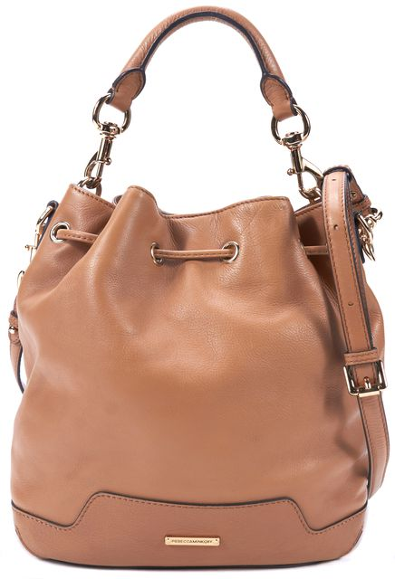 REBECCA MINKOFF Brown Genuine Leather Drawstring Bucket Tote Crossbody