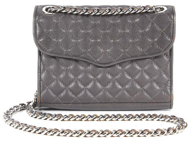 REBECCA MINKOFF Dark Gray Quilted Leather Chain Strap Mini Affair Crossbody