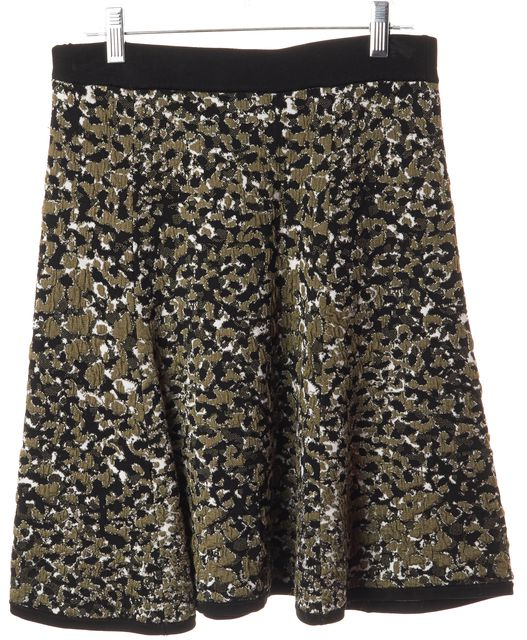 REBECCA MINKOFF Green Black White Above Knee Abstract A-Line Skirt