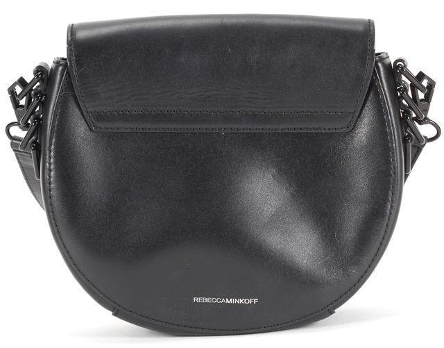 REBECCA MINKOFF Black Leather Adjustable Strap Astor Saddle Crossbody Bag