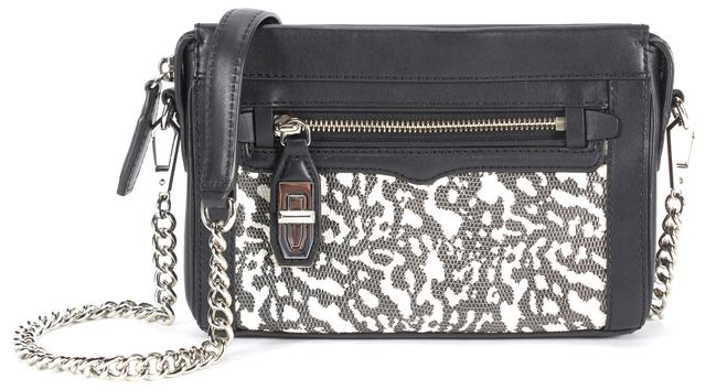 REBECCA MINKOFF Black White Snake Embossed Leather Chain Strap Crossbody