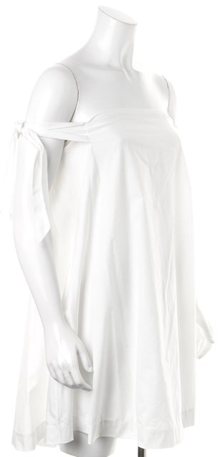 REBECCA MINKOFF White Off-Shoulder Side Pocketed Mini Shift Dress