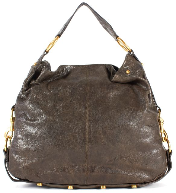 REBECCA MINKOFF Brown Leather Gold Hardware Hobo Bag