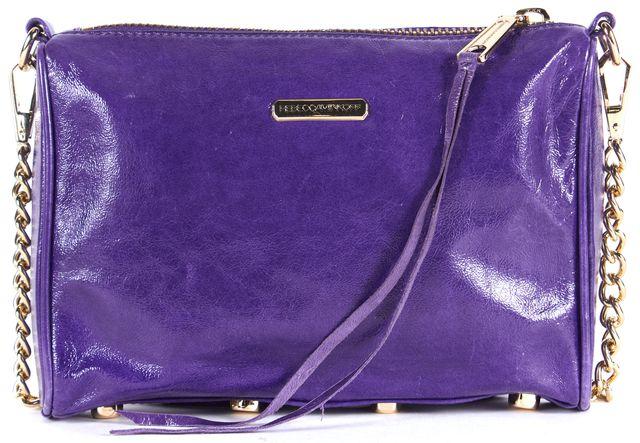REBECCA MINKOFF Purple Patent Leather Mini 5 Zip Chain Strap Crossbody