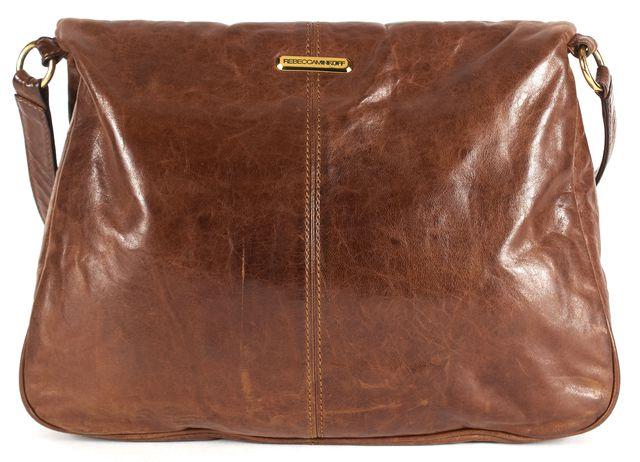 REBECCA MINKOFF Brown Leather Multi Pocket Gold Hardware Crossbody Bag