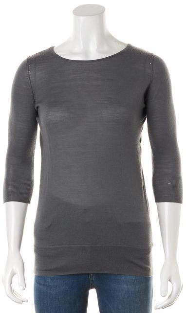 REBECCA MINKOFF Gray Wool Crewneck Cut-Out Back Sweater