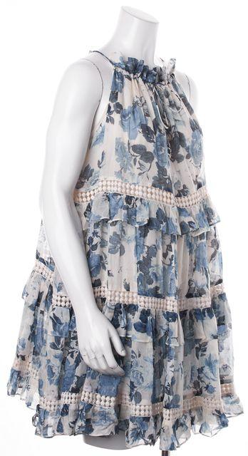 REBECCA MINKOFF Blue Ivory Floral Print Silk Crochet Ruffled Tiered Dress