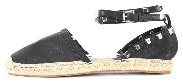 REBECCA MINKOFF Black Studded Leather Gilles Espadrille Sandals