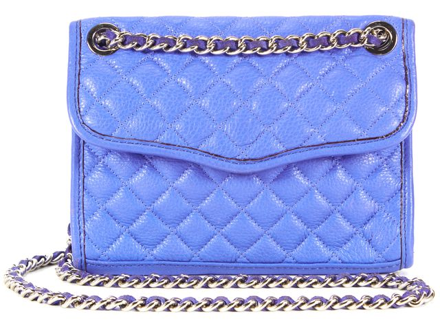 REBECCA MINKOFF Bright Purple Blue Quilted Leather Chain Crossbody Bag