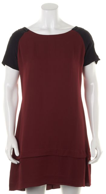 REBECCA MINKOFF Red Black Bead Embellished Silk Shift Dress