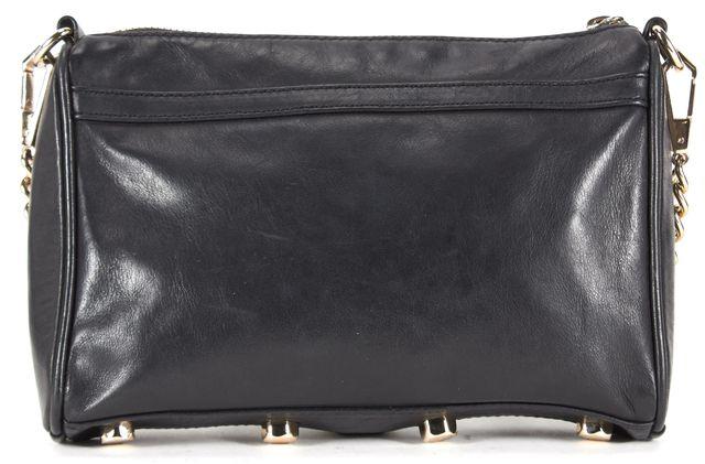 REBECCA MINKOFF Solid Black Leather Hook Closure Crossbody Bag
