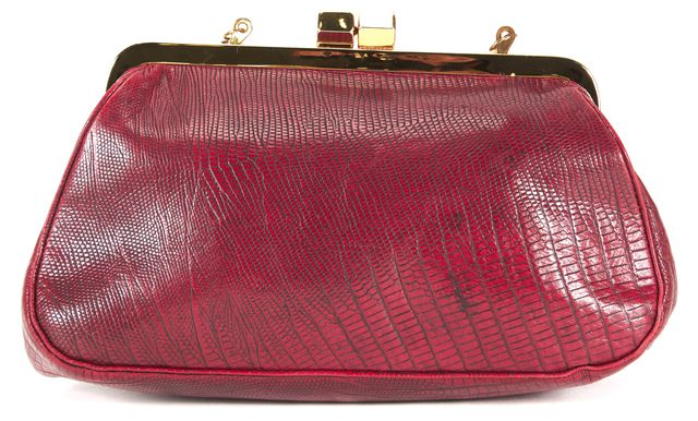 REBECCA MINKOFF Red Lizard Embossed Leather Vintage Style Convertible Clutch