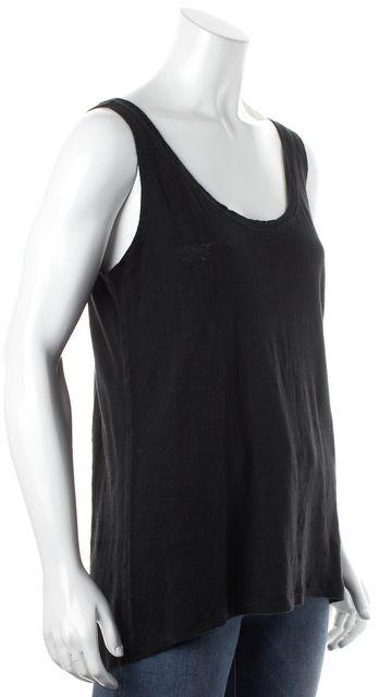 REBECCA MINKOFF Solid Black Linen Tank Top