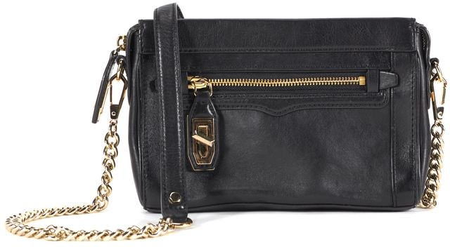 REBECCA MINKOFF Black Leather Gold Chain Link Crossbody