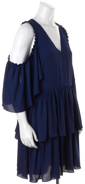 REBECCA MINKOFF Navy Blue Cold-Shoulder Roberta Tiered Shift Dress