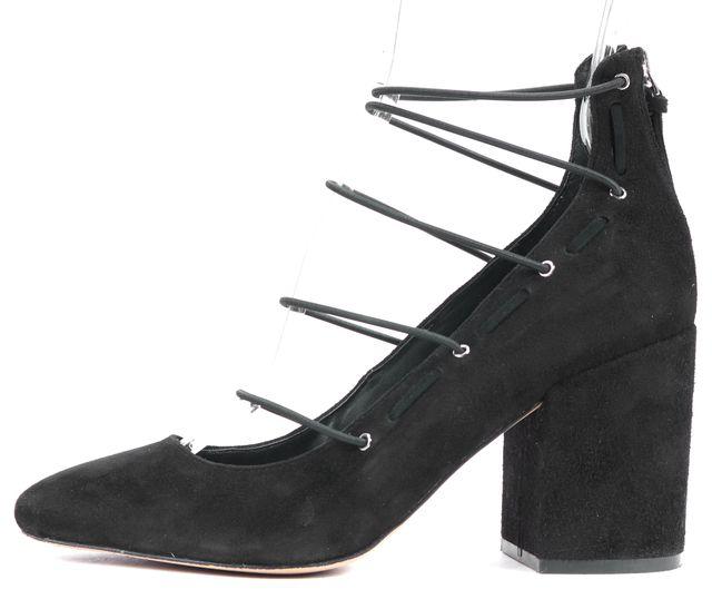 REBECCA MINKOFF Black Suede Elastic Lace Straps Pumps Heels