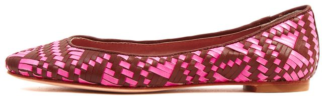 REBECCA MINKOFF Pink Brown Leather Uma Woven Flats