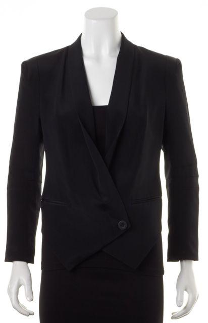 REBECCA MINKOFF Black Silk Single Button Becky Blazer