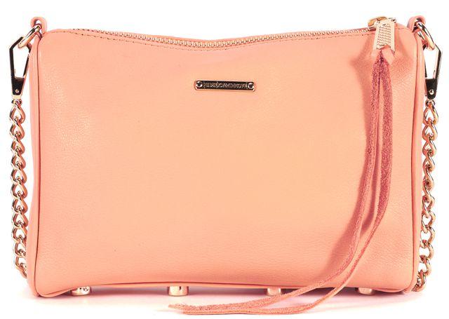 REBECCA MINKOFF Orange Peach Leather Gold-Tone Hardware Mini 5 Zip Crossbody Bag