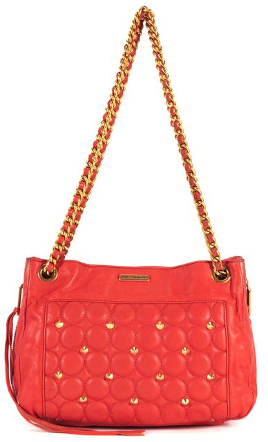 REBECCA MINKOFF Persimmon Orange Quilted Leather Chain Strap Shoulder Bag