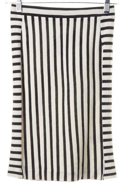 REBECCA MINKOFF White Black Striped Cotton Knit Stretch Pencil Skirt