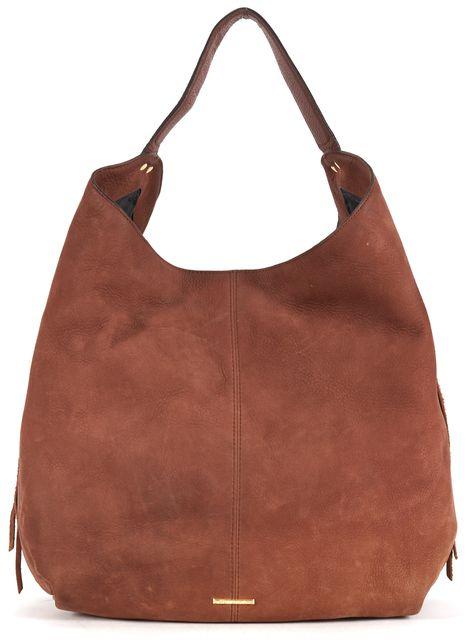 REBECCA MINKOFF Gingerbread Brown Leather Bryn Double Zip Shoulder Bag