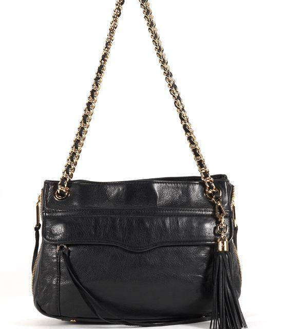 REBECCA MINKOFF Black Leather Swing Double Chain Crossbody Shoulder Bag