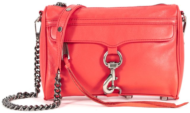 REBECCA MINKOFF Hot Red Leather Mini Mac Chain Strap Crossbody Bag