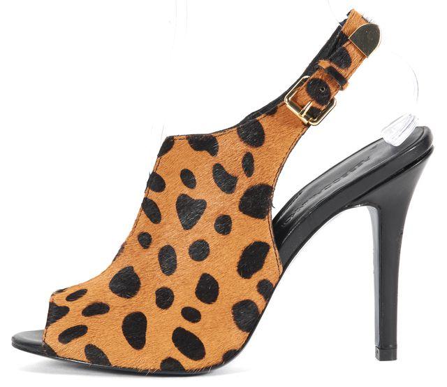 REBECCA MINKOFF Brown Cheetah Print Calf-Hair Priscilla Slingback Heels
