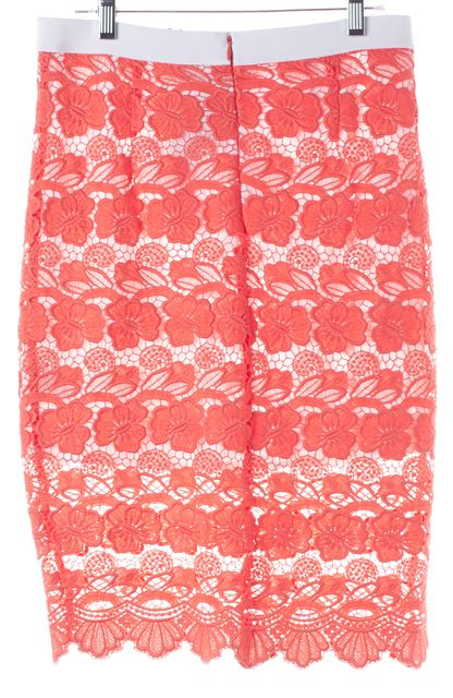 REBECCA MINKOFF Coral Pink Floral Lace Overlay Angelica Straight Skirt