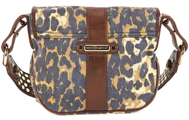 REBECCA MINKOFF Brown Leopard Printed Canvas Studded Strap Crossbody