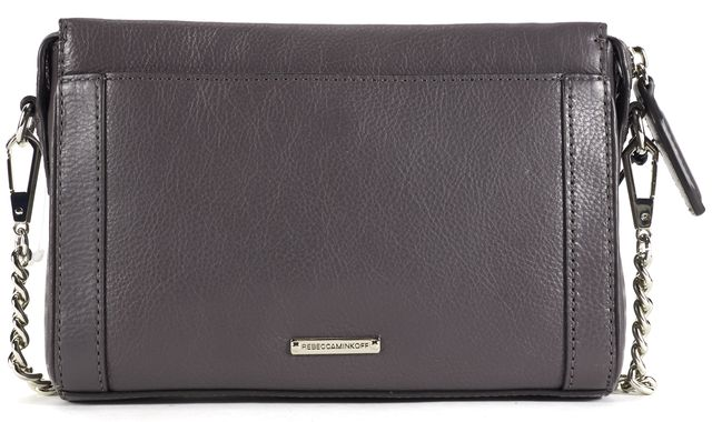 REBECCA MINKOFF Gray Leather Mini Crosby Crossbody Shoulder Bag