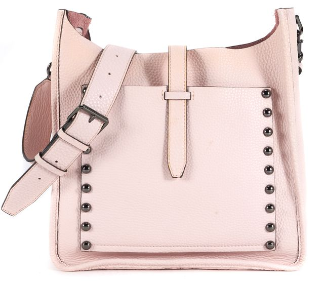 REBECCA MINKOFF Pale Pink Studded Leather Unlined Feed Crossbody Bag