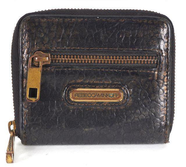 REBECCA MINKOFF Black Gold Animal Print Textured Leather Wallet