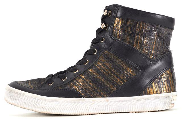 REBECCA MINKOFF Black Gold Snakeskin Leather Smith Metallic Sneakers