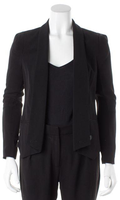 REBECCA MINKOFF Black Silk Becky Jacket Open Blazer