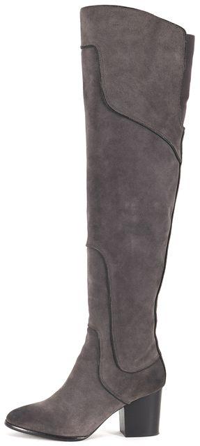 REBECCA MINKOFF Gray Suede Block Heeled Over Knee Boots