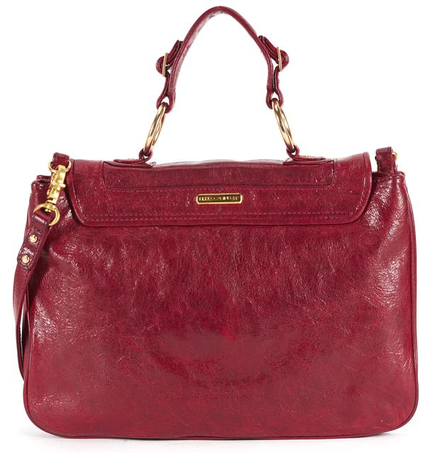 REBECCA MINKOFF Burgundy Red Leather Adjustable Strap Satchel