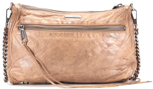 REBECCA MINKOFF Brown Distressed Leather Zipper Trim Crossbody Shoulder Bag