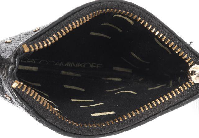 REBECCA MINKOFF Black Snake Embossed Leather Studded Key Holder Key Coin Bag